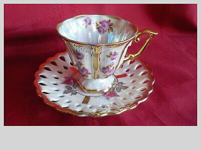 Vintage Royal Sealy China Iridescent Tea Cup & Saucer Japan Roses Gold Trim Exc