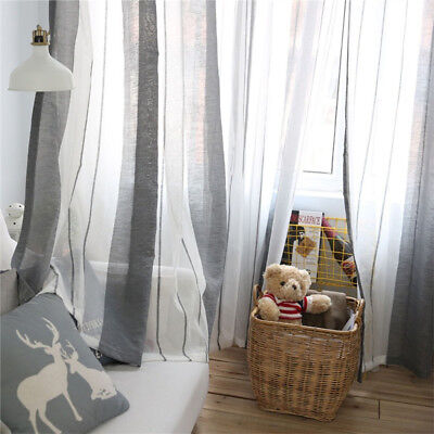 Stripe Window Curtain Punching Hole Panel Bedroom Decor Door Room Gift Innovate