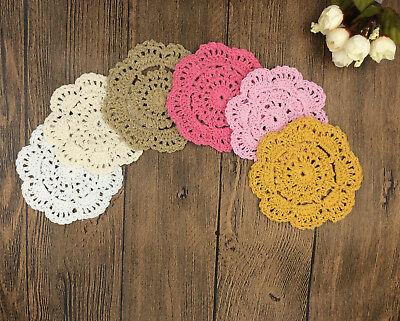 1Pc cotton hand crochet 10cm doily round cupmat playmat home decor craft parts