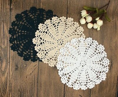 1Pc cotton hand crochet 18cm doily round cupmat playmat home decor craft parts