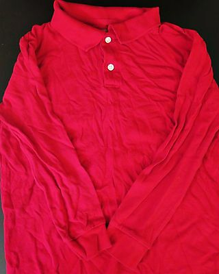 Old Navy Boys Uniform Polo Shirt, Long Sleeve, Red, Size L (10/12)