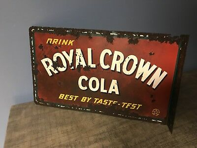 Royal Crown Cola 1950's Flanged Sign Original double sided antique rare rusty