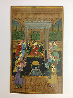 Antique Handmade Oil Painting Mughal King Miniature Sandalwood Home Decor Art