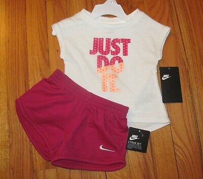 Nike Baby Girl White Pink Just Do It Shirt Short Set 12M NWT