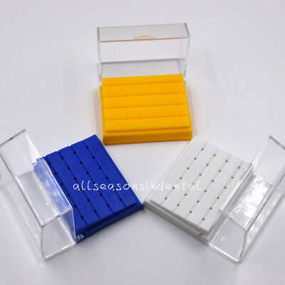 24 Holes Dental Burs Drill Holder Stand Block Disinfection Case Plastic Choose