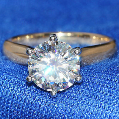2CT Brilliant Round-Cut Diamond Solitaire Engagement Ring 10K Yellow Gold Finish