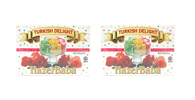 910568 2 x 250g BOXES OF HAZERBABA TURKISH DELIGHT ROSE, LEMON, MINT ASSORTED
