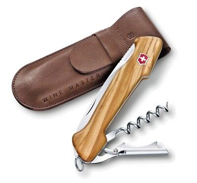 0.9701.64 VICTORINOX 130mm WINE MASTER OLIVE WOOD & LEATHER POUCH NEW