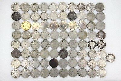 Liberty Head V Nickel 5C Mixed Dates Lot of 81 Count Circulated Coins Collection