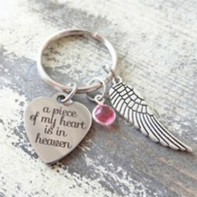 """2017 NEW """"A Piece Of My Heart Is In Heaven"""" Heart Charm Wing Charm Keyring UK"""