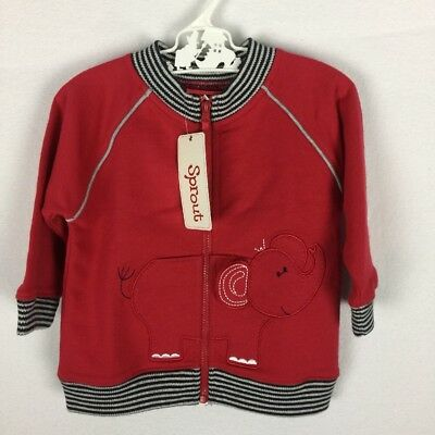 SPROUT Boys Size 0 Red 100% Cotton Zip Up Front Jacket Windcheater BNWT