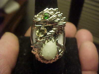 Great Quality White Celadon Jade HSN Sterling Silver DRAGON Ring  Sz7 Only 3