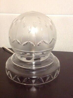 Art Deco Table Lamp Glass Crystal Cut Etching Dome