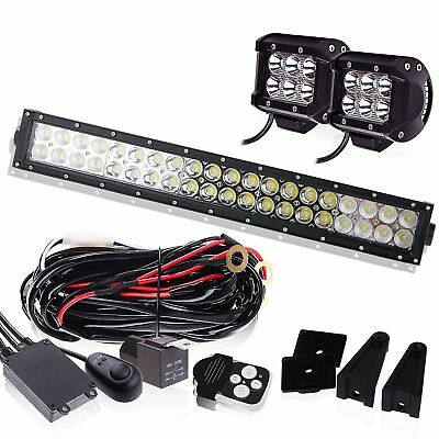 "22"" LED Light Bar W/Led Pods+3LEAD Wiring Kit Offroad Dodge Ram Ford Jeep Toyota"