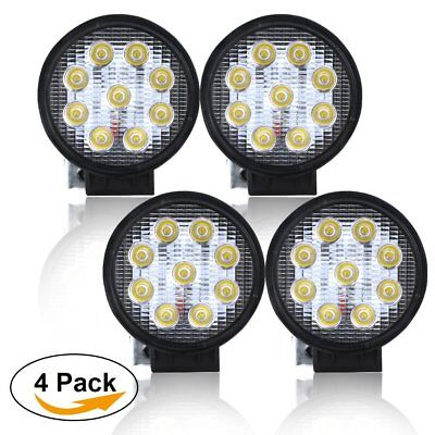 "4PCS 4"" Led Work Light 27W Round Pods Flood Ford F150 F250 GMC Dodge Boat truck"