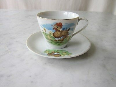 Vintage Japanese Children's Cup & Saucer with Hens & Chickens design