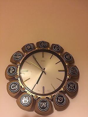 Vintage 1960s - 1970s Metamec Wall Clock Edged With The 12 Star Signs