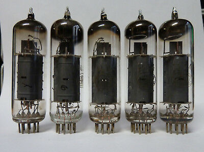 5x EL84 Lorenz.Three with welded plates, three with declined D-getters.