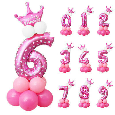 32'' Number & Crown Foil Balloons Boy/Girl Baby Birthday Party Decor Blue/Pink