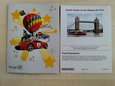 Buyagift voucher for a Lunch Cruise on the River Thames, London, for two people