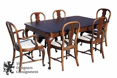 Antique Queen Anne Style Mahogany Dining Room Set Table & 6 Chairs Marquetry