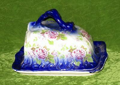 Flow Blue Cheese Dish Pink Roses