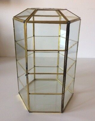Vintage LARGE Hexagon Glass Brass 4 Shelf CURIO CABINET DISPLAY EXC