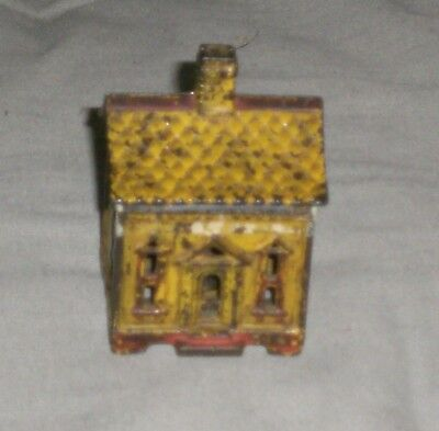 Vintage Cast Iron Quadrafoil House Still Coin Bank