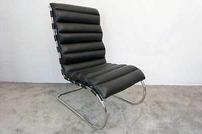Mies Van Der Rohe Inspired MR 100 Lounge Chair In Black Leather Very Rare - VOGA