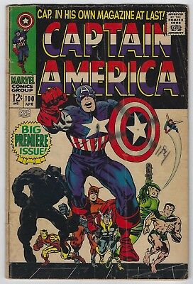 Captain America #100 (1968, Marvel) Premiere Issue, Stan Lee, Jack Kirby, G+/VG