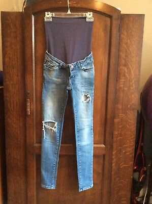 Seraphine Skinny Maternity Jeans, ripped style, size 8 over bump