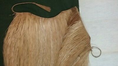 Professional Natural Grass Hula Dance Skirt with Woven Overlay