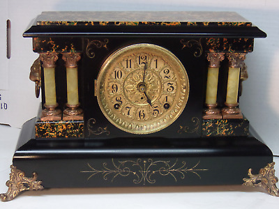 Antique Seth Thomas Adamantine Black mantel Mantle clock Model 718 1/2