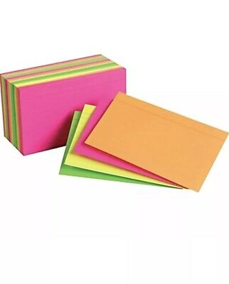 Staples index cards 3x 5 Inch Line Ruled Neon Assorted Color Pack of 300 Pieces