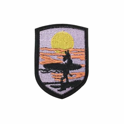 Surfer Sunset Badge (Sew On) Embroidery Applique Patch Sew Iron Badge