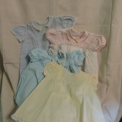 Lot of 4, VINTAGE BABY CLOTHS, INFANT GIRLS DRESSES FROM 1961, PRE OWNED