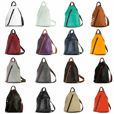 LiaTalia Soft Real Italian Leather Small Convertible Strap Backpack Bag - Alex