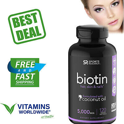 SPORTS RESEARCH BIOTIN High Potency 5000 Mcg Dietary Supplement 120 Veggie Sgels