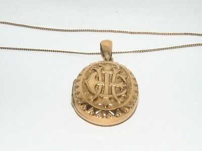 STUNNING ANTIQUE VICTORIAN 1800's ORNATE GOLD PLATED LOCKET with RAISED INITIALS