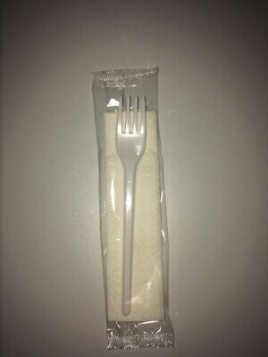 Disposable Plastic Strong Fork & Napkin Cutlery Set Meal Individually Wrapped
