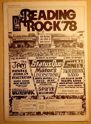 "READING ROCK 78 ""SOUNDS July 15"" Original 1978 SOUNDS Trade Press Advert PAGE"