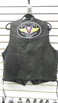 Victory Motorcycles Men's Leather Classic Logo Vest - Free Shipping! Rare
