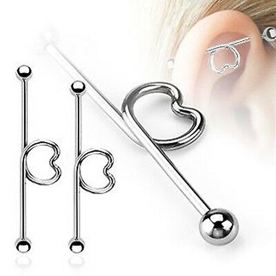 New 316L Surgical Steel Love Heart Scaffold Industrial Piercing Barbell 38mm
