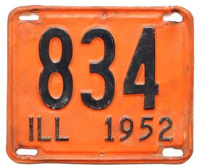 Illinois 1952 License Plate, 834, Shorty, Low Number, 3-Digit, Antique, Sign