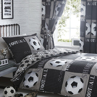 Football Bedding Range Black Choose Duvet Sets or Curtains