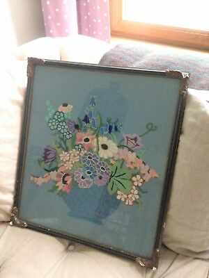 Stunning vintage framed floral bouquet embroidered tapestry on blue linen fabric
