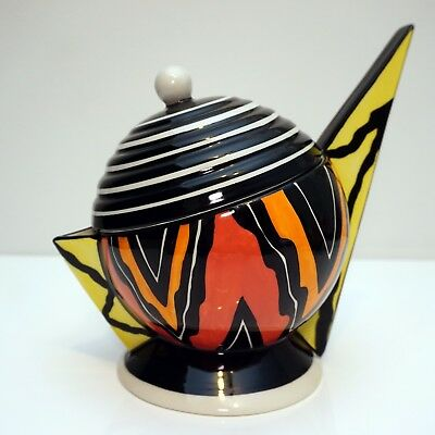 Lorna Bailey Signed Round Black & White Striped Teapot