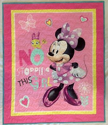 """Handmade New Baby Quilt Minnie Mouse No Stopping This Girl 36"""" X 43"""" 100% Cotton"""