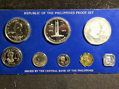 Philippines 1978 Proof Set, 8 Coins, 2 silver. Franklin Mint