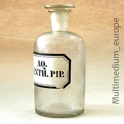 alte Apotheker Glas Flasche 1900 Aq. Menth. Pip old antique chemist glass bottle